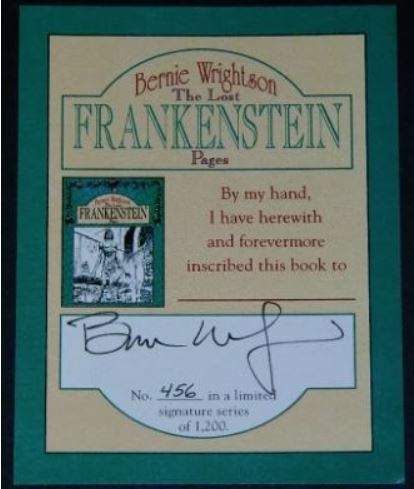 The Lost Frankenstein PagesBookplate - mail-orderSigned #456/1200