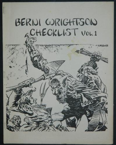 Berni Wrightson Checklist Vol.1Mid80's - 15 pages w/ Ill.(Tom vincent)