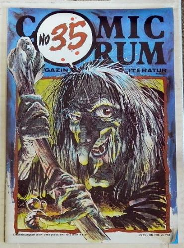 "Comic Forum #35German - 1987cover, 10 pages of illustrations, ""Muck Monster"""