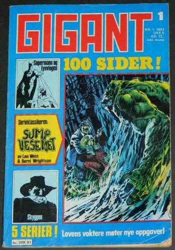 Gigant #1Norway  - 1983cover, Swamp Thing #1 B&W