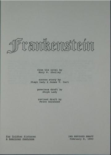 Frankenstein movie script