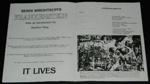 Marvel Frankenstein order sheet - inside