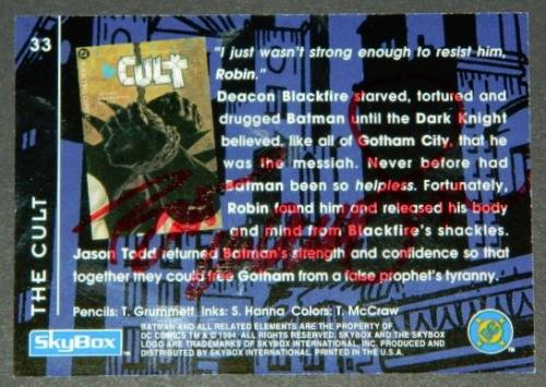 "Dynamic Duo cardback ""The Cult""Signed"