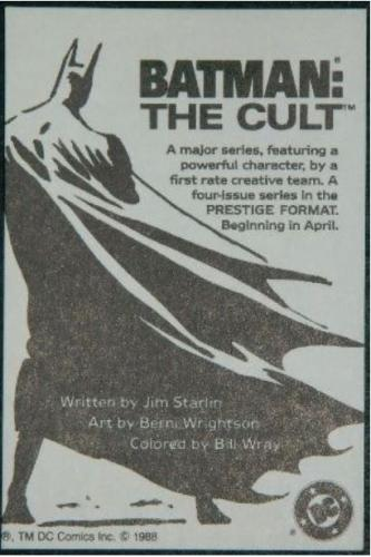 Batman The Cult card1988 Prestige format checklist