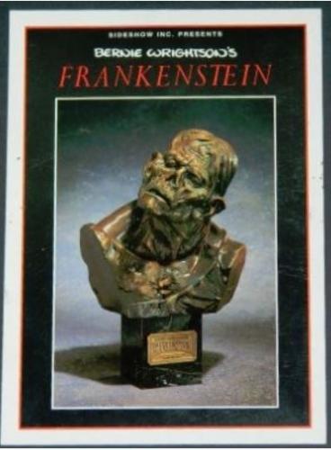 Frankenstein bronze bust postcard