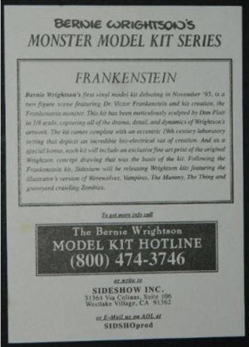 Frankenstein model postcardback