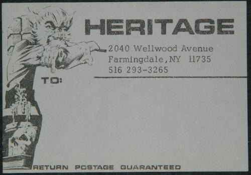 Heritage Fanzine mailing label
