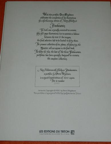 Frankenstein 1980Les Editions Du TritonBack cover