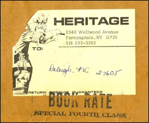 11) Heritage mailing label from Heritage fanzine envelope